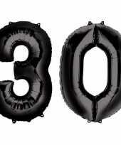 30 jaar zwarte folie ballonnen 88 cm leeftijd cijfer