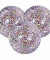 3x stuks opblaasbare zwembad strandballen van 50 cm