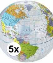 5x opblaasbare strandbal wereldbol
