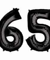 65 jaar zwarte folie ballonnen 88 cm leeftijd cijfer