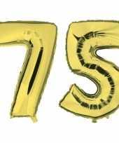 75 jaar gouden folie ballonnen 88 cm leeftijd cijfer