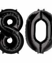 80 jaar zwarte folie ballonnen 88 cm leeftijd cijfer