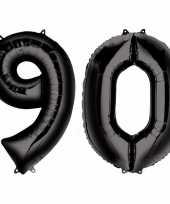 90 jaar zwarte folie ballonnen 88 cm leeftijd cijfer