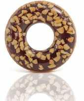 Bruine opblaasbare chocolade donut zwemband 114cm