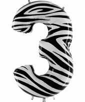 Cijfer 3 ballon zebra