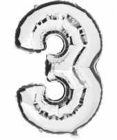 Cijfer 3 ballon zilver