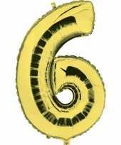Cijfer 6 ballon goud
