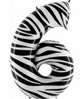Cijfer 6 ballon zebra
