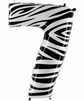 Cijfer 7 ballon zebra
