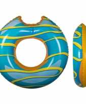 Opblaasbare blauwe donut xxl zwemband 119 cm