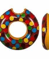 Opblaasbare chocolade donut xxl zwemband 119 cm