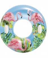 Opblaasbare flamingos zwemband zwemring 97 cm