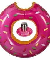 Roze opblaasbare donut zwemband en drankhouder