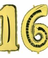 Sweet 16 gouden folie ballonnen 88 cm leeftijd cijfer 16 jaar